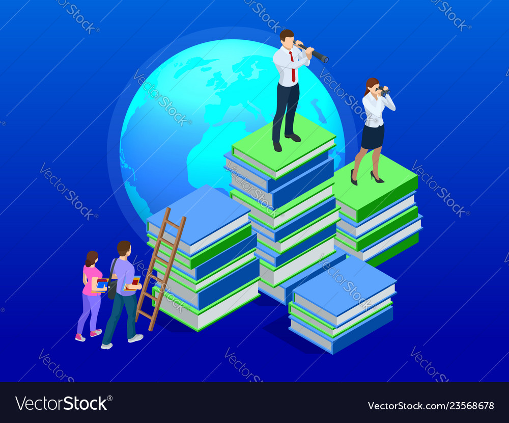 Isometric distance education online courses e