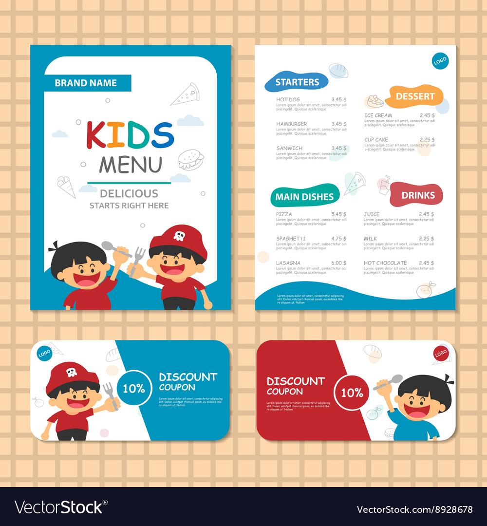 Kids Menu Templates Blue Theme Royalty Free Vector Image