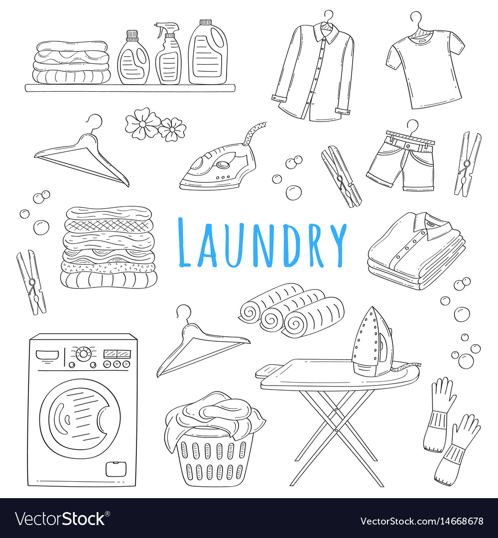 Laundry service hand drawn doodle icons set