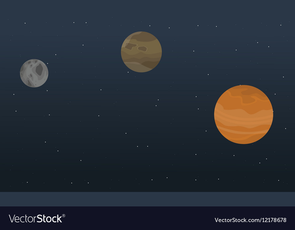Planet Sky Outer Space Landscape Royalty Free Vector Image