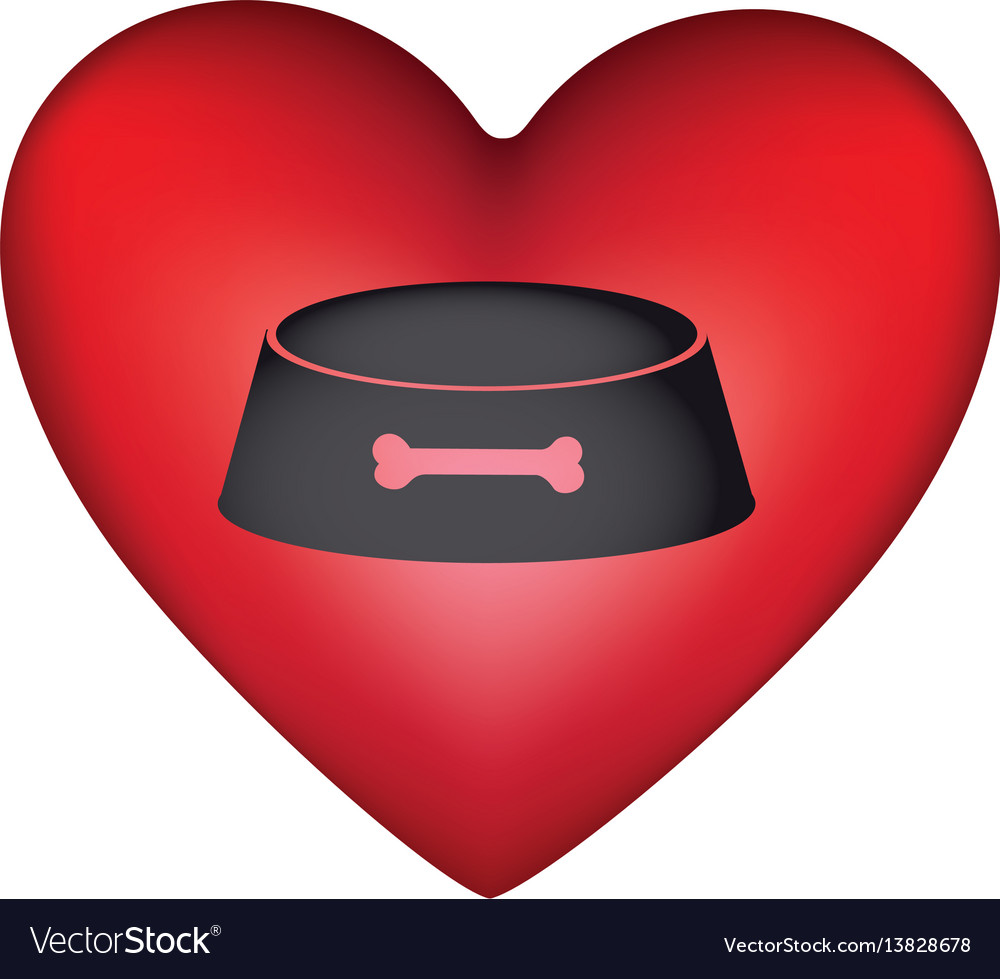 Red heart shape with pet bowl with bone symbol
