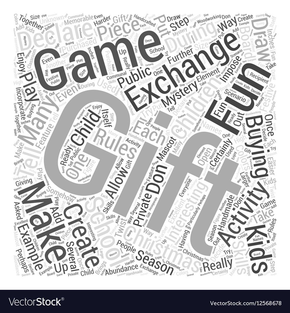 school christmas gift exchange games word cloud vector image