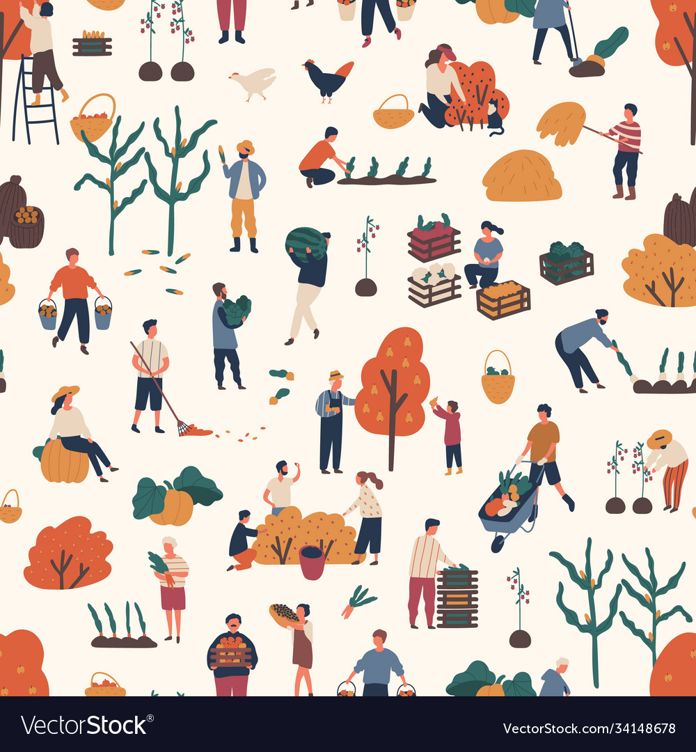 Seamless pattern with people pick autumn harvest