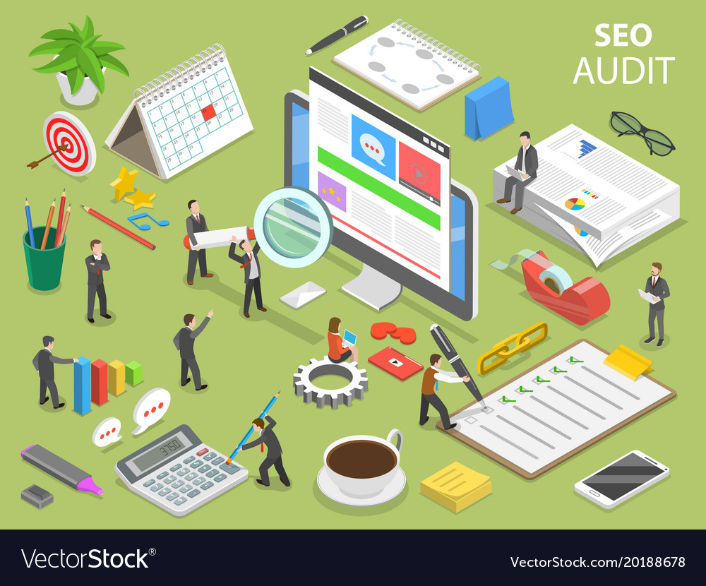 Seo audit flat isometric concept