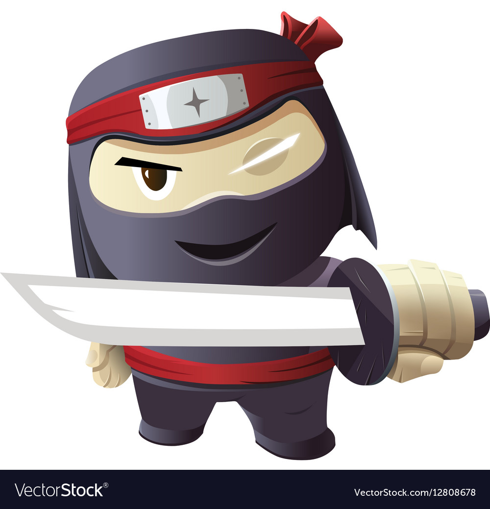 Serious ninja with sword