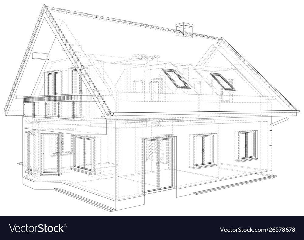 Sketch Cottage With A Roof Royalty Free Vector Image