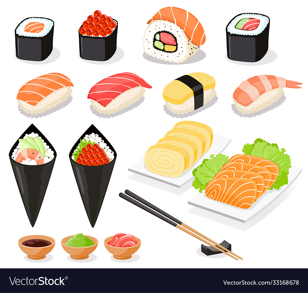 Sushi collection asia food icons