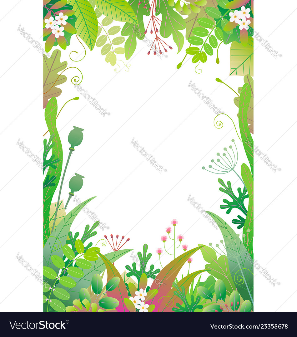 Vertical floral frame with green plants