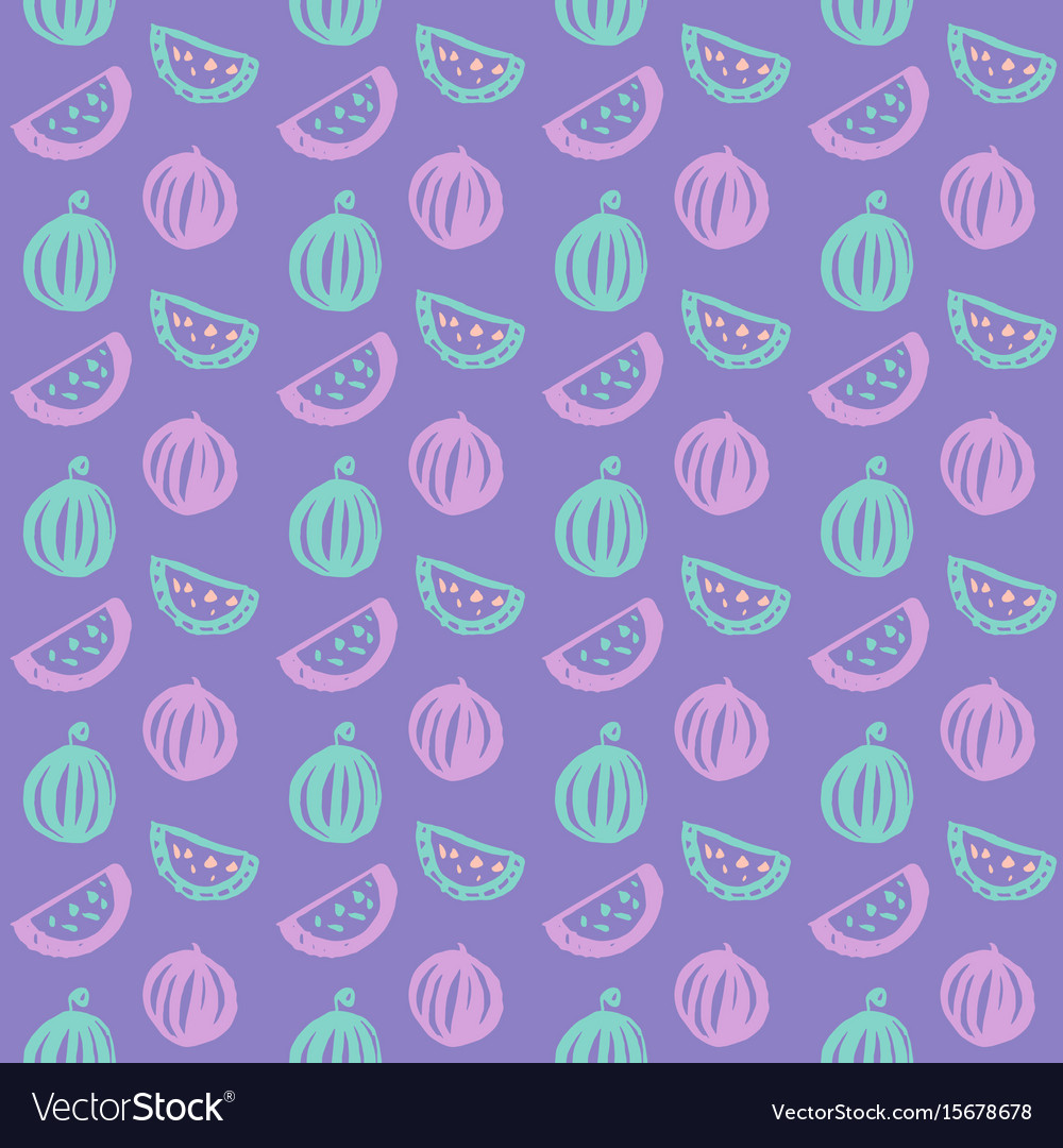 Watermelon brush seamless pattern vector image