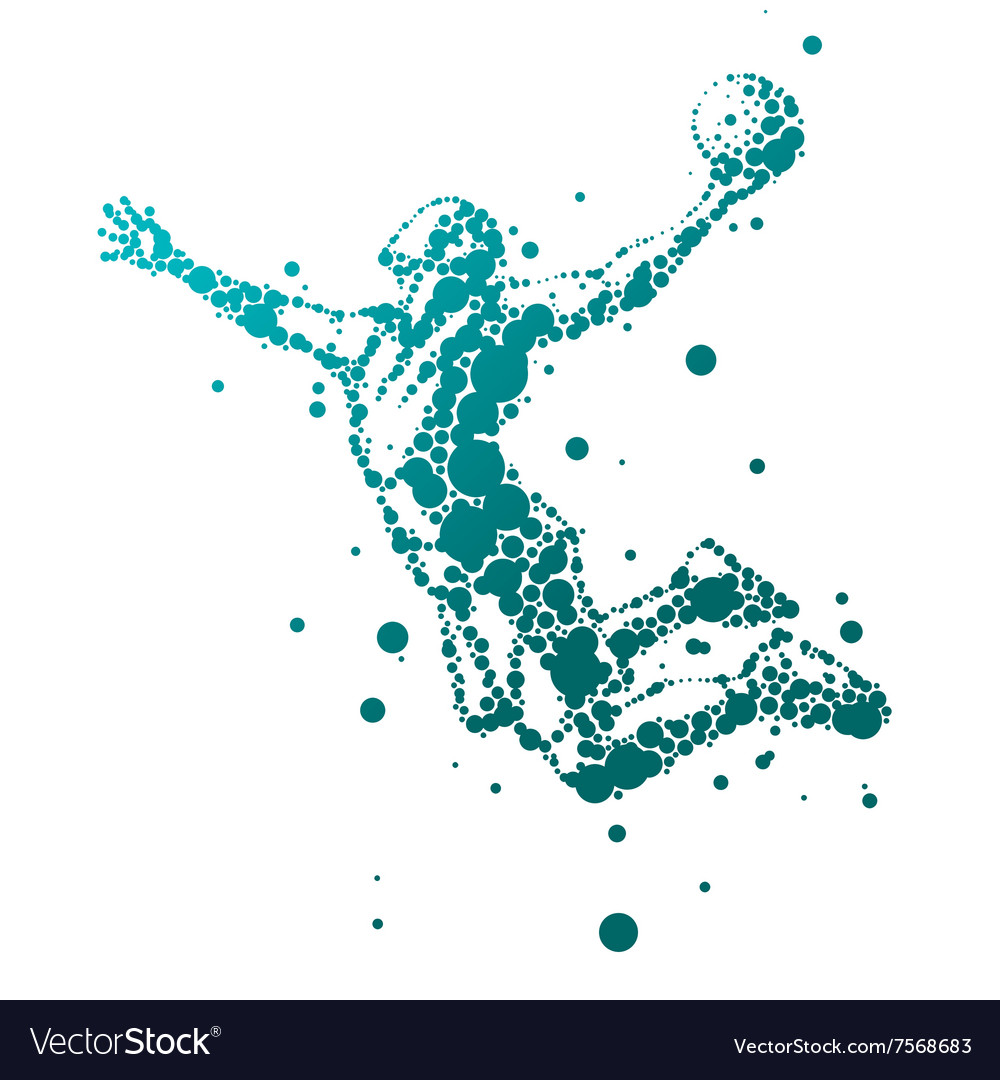 Abstract basketball player in jump