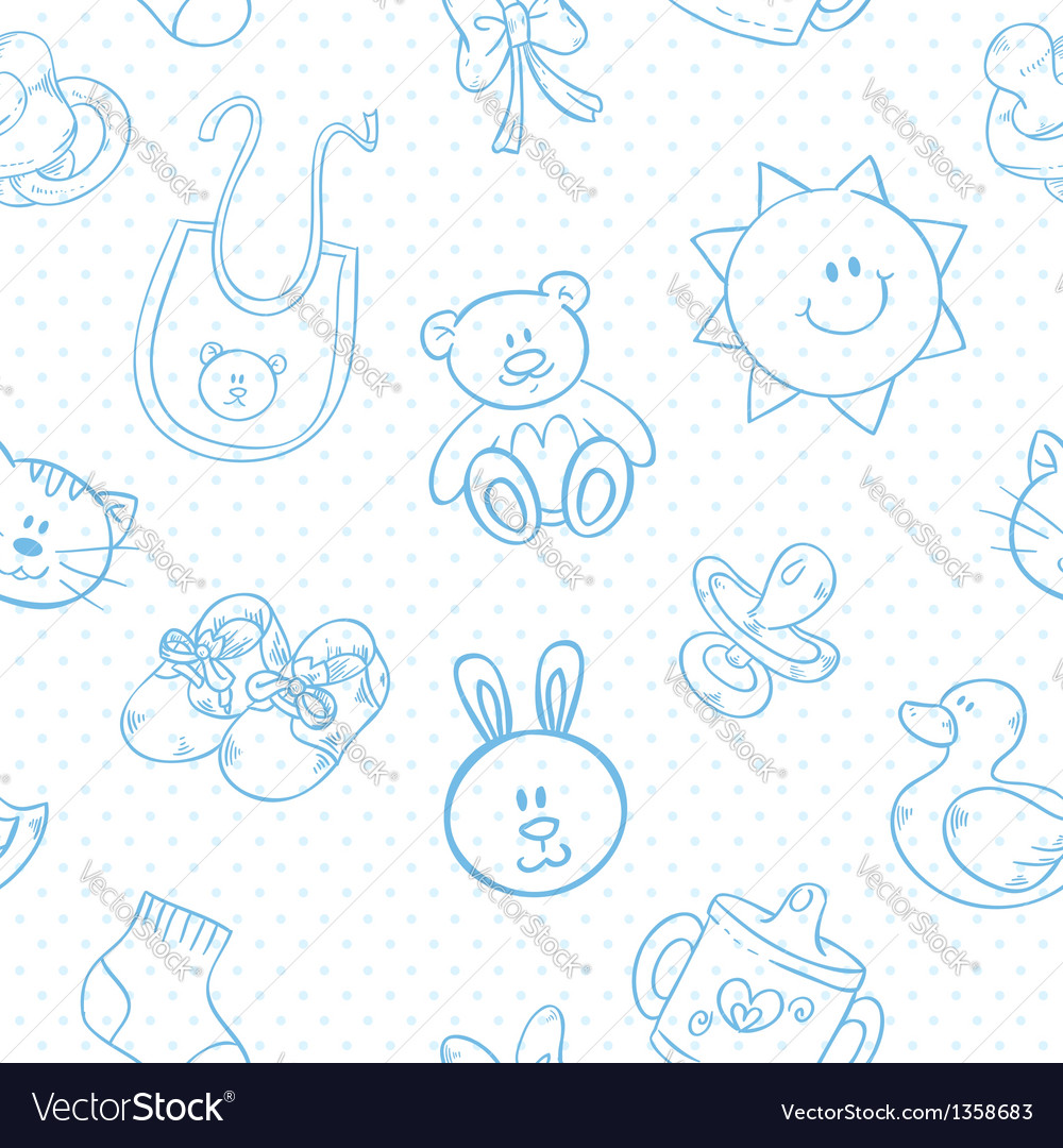Baby toys cute cartoon set seamless pattern