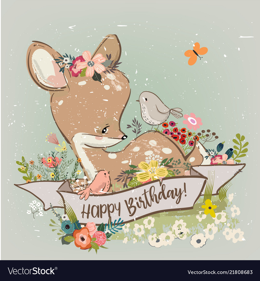 Birthday little deer with flowers