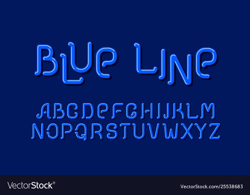 Blue line sign design letter set style