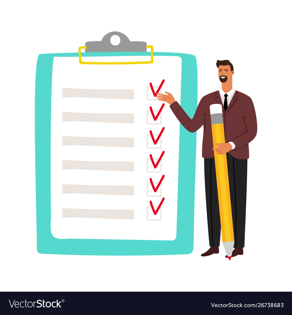 Businessman and checklist man holding pencil and
