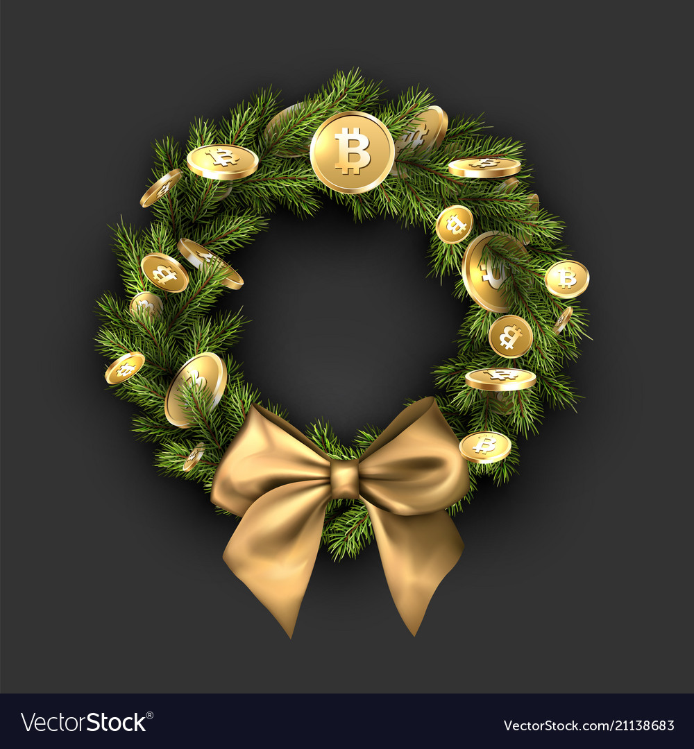 Gold Christmas Wreath.Christmas Wreath With Bow And Gold Bitcoins