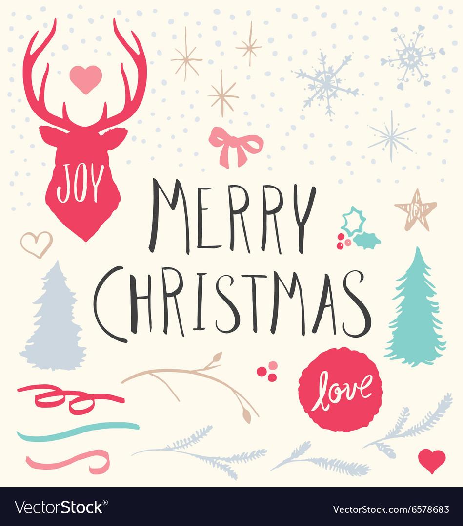 Hand Drawn Merry Christmas Elements Set