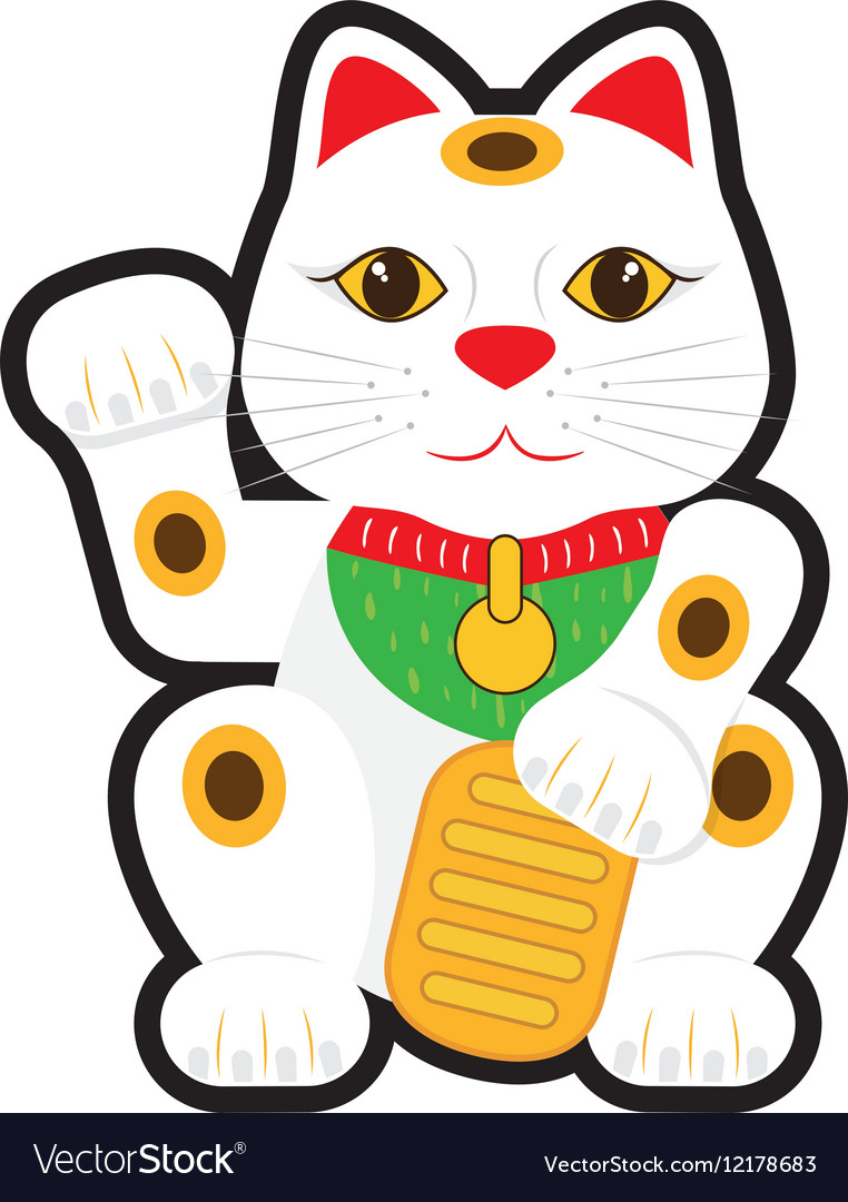 Maneki neko lucky cat Royalty Free Vector Image (762 x 1080 Pixel)