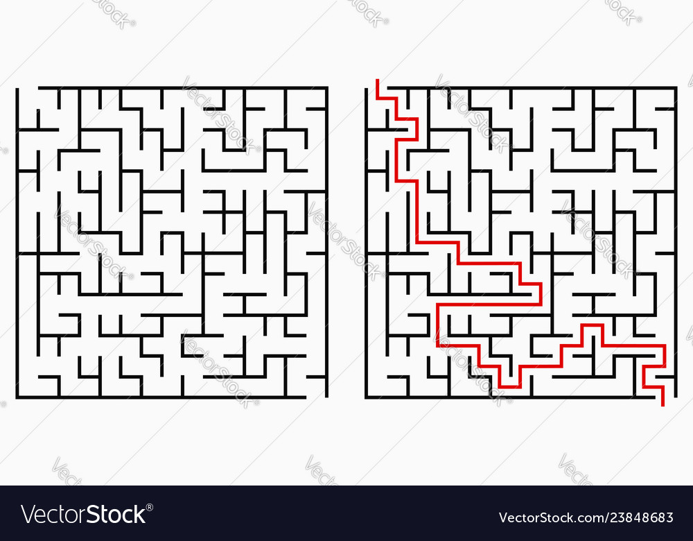 Maze geometric labyrinth with entry and exit