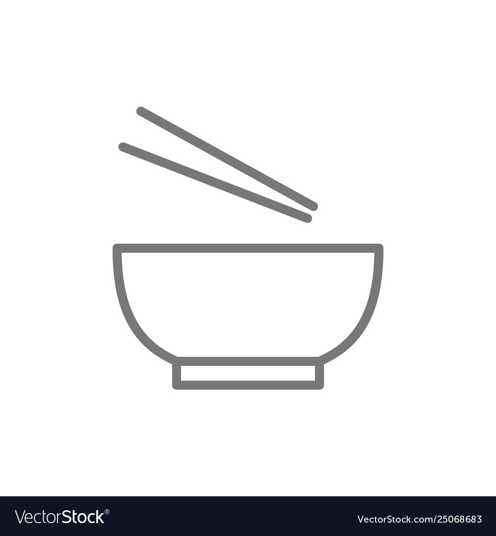Noodle Soup Bowl With Chopsticks Line Icon Vector Image