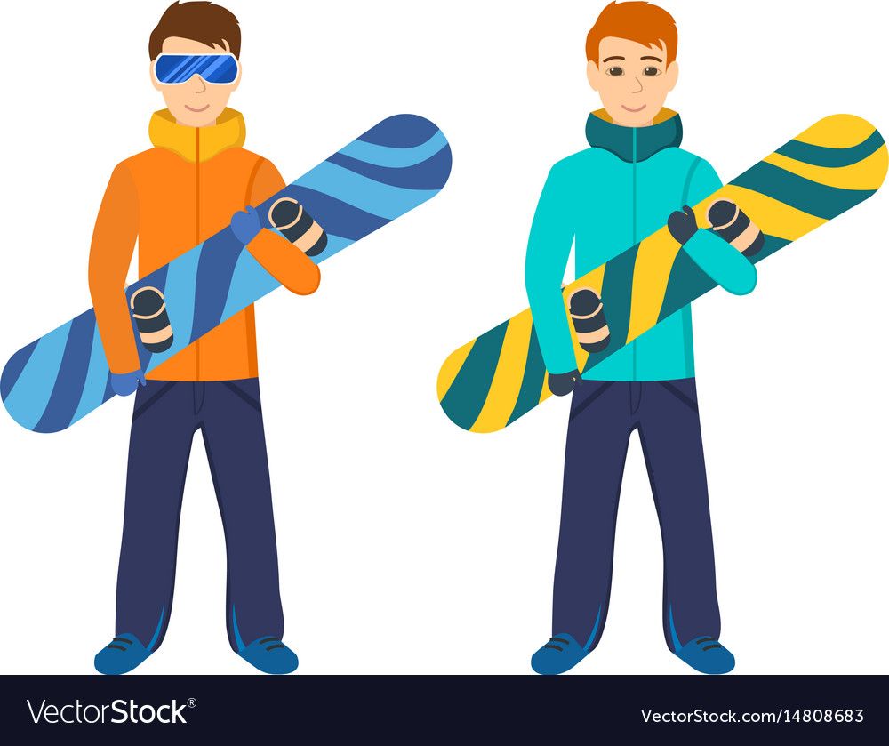 People on mountain slope holding snowboard