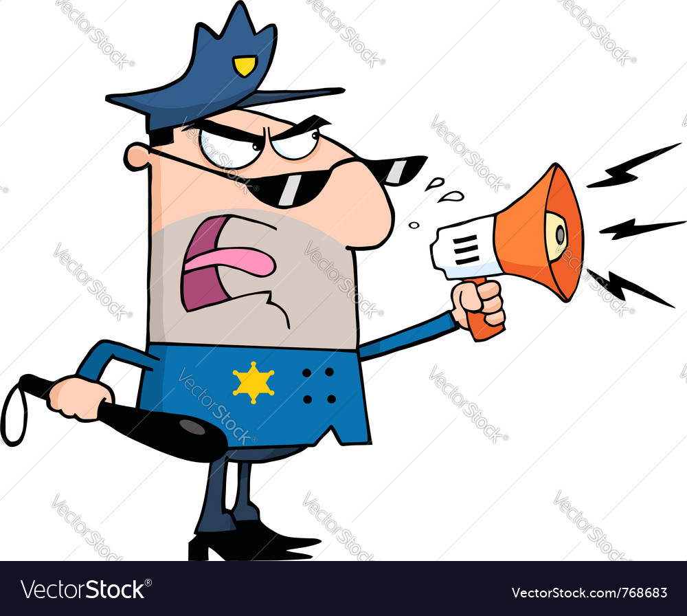 Police officer shouting through a megaphone vector image