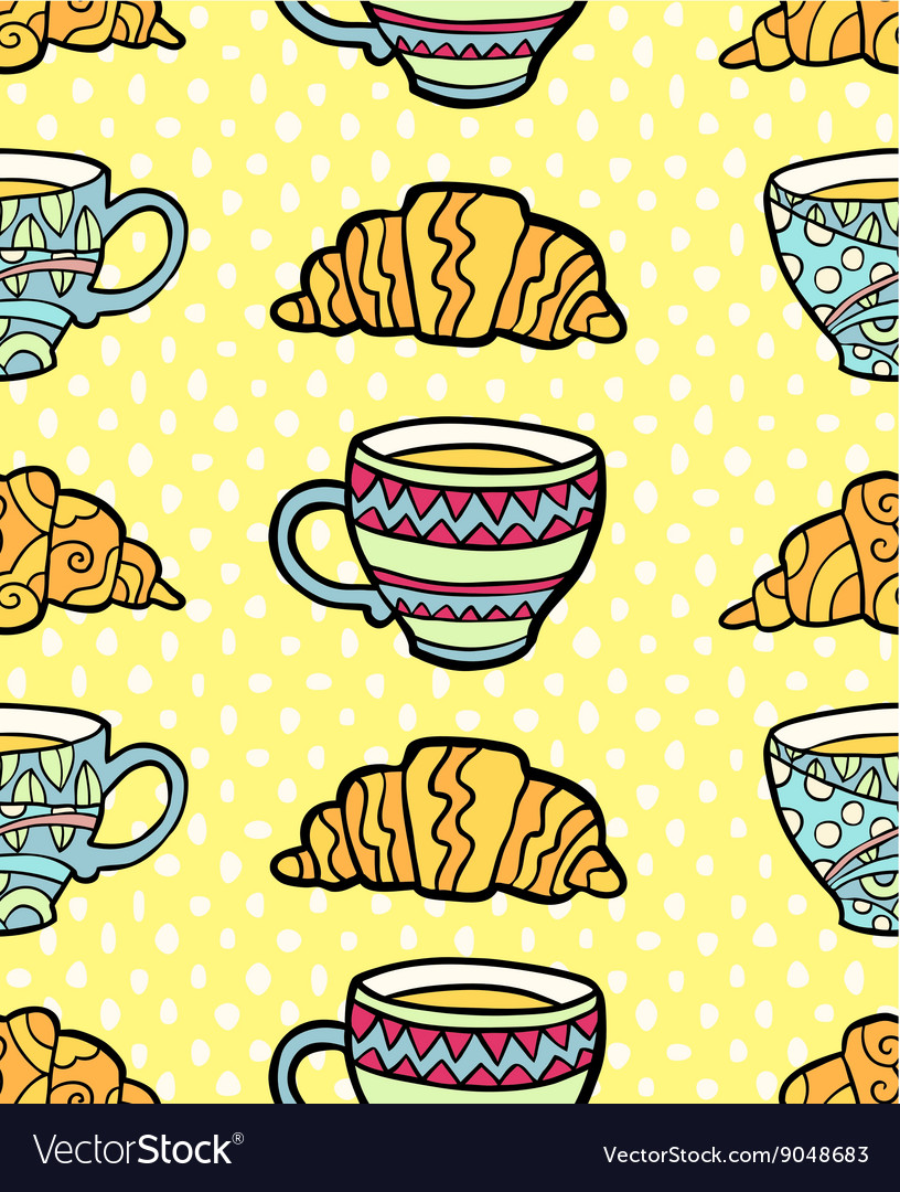 Seamless pattern with cup and croissant on