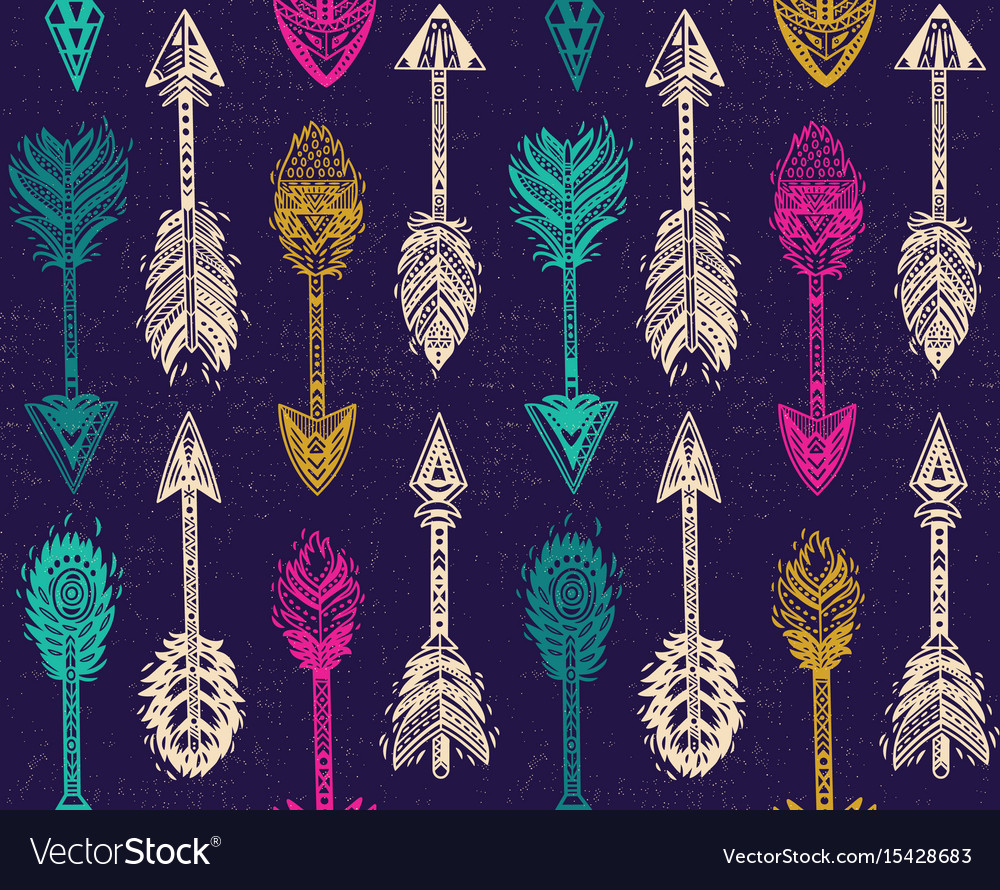 Seamless pattern with native american indian vector image
