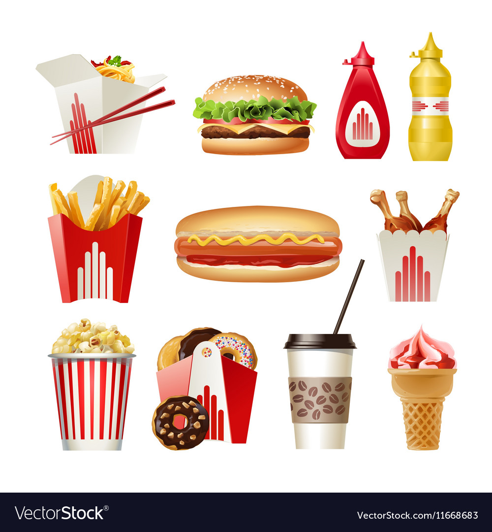 Set beautiful cartoon icons of fast food