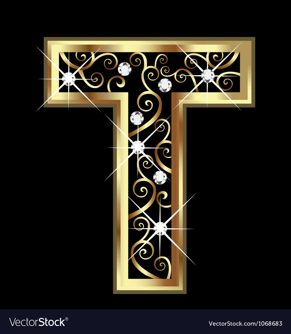 T gold letter with swirly ornaments Royalty Free Vector