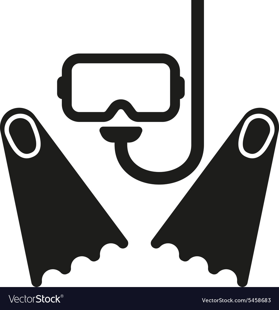 the scuba mask and flippers icon diving symbol vector image vectorstock
