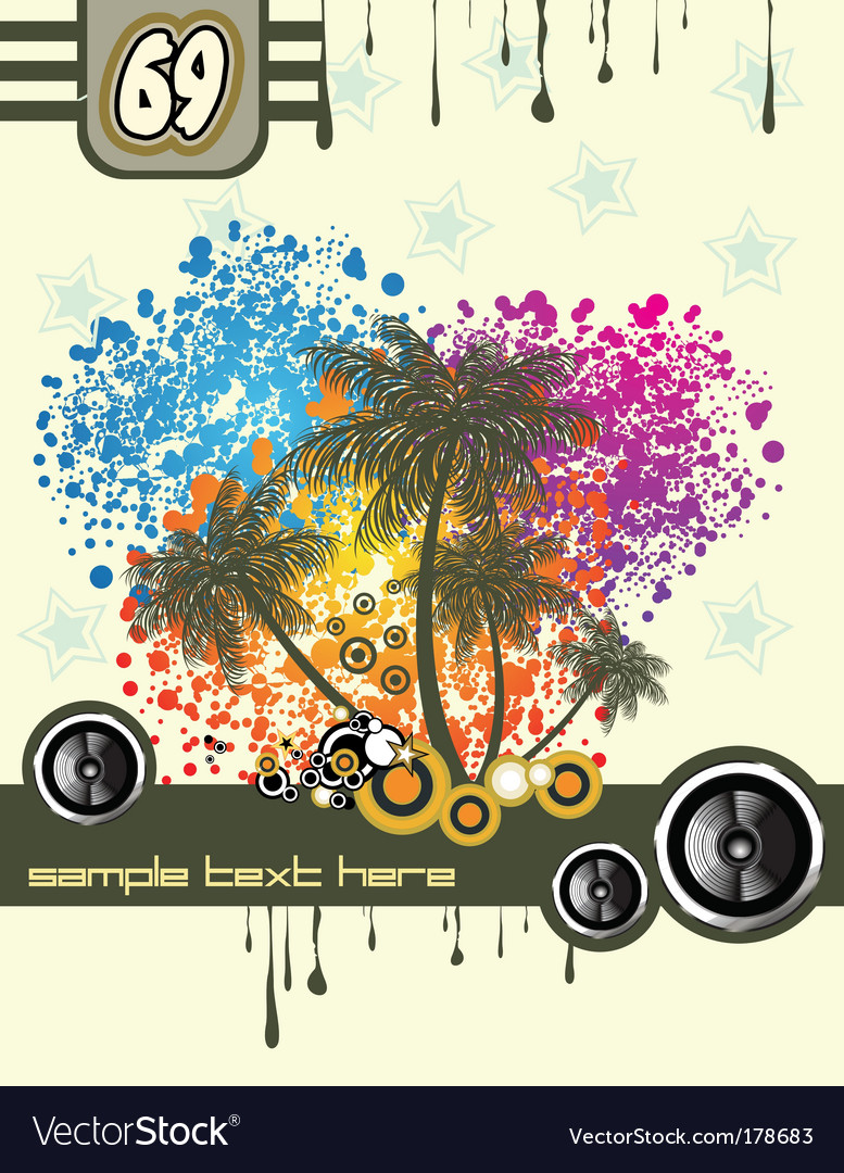 Tropical music disco flyer vector image