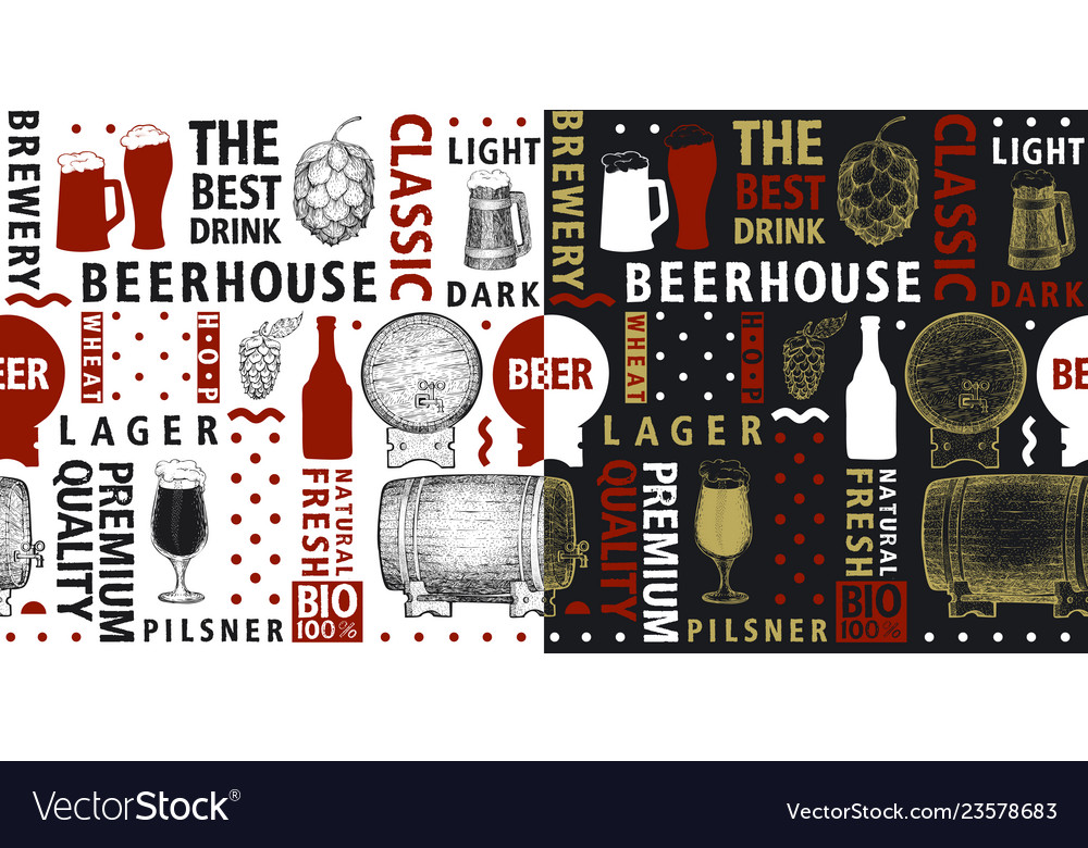 Typographic beer seamless pattern or