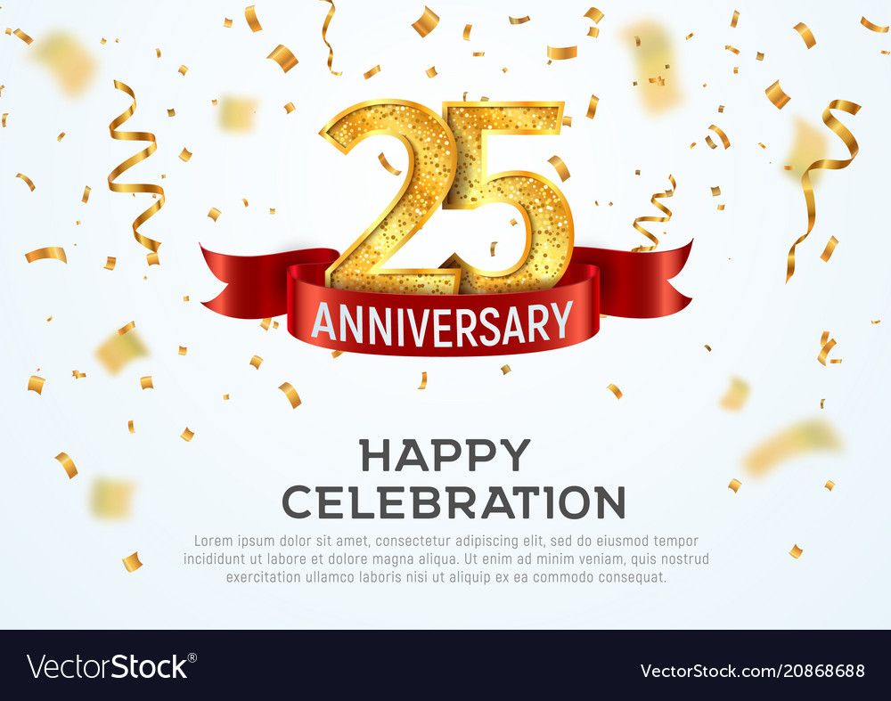 25 years anniversary banner template Royalty Free Vector