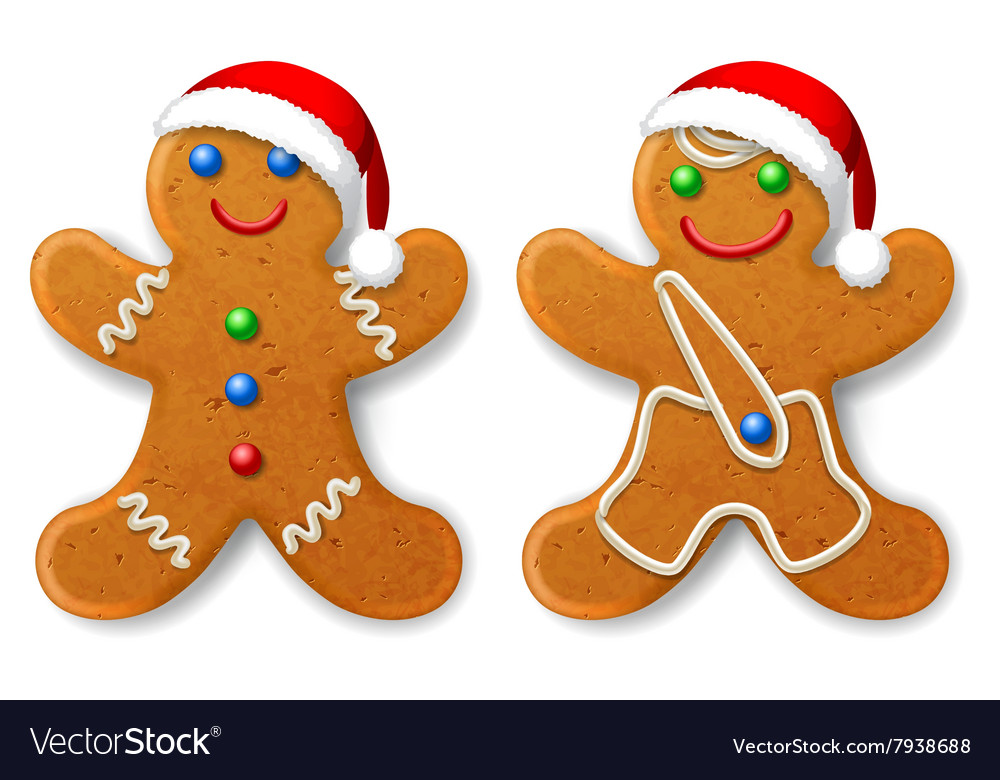 a set of christmas gingerbread man in a santa hat vector image - Christmas Gingerbread Man