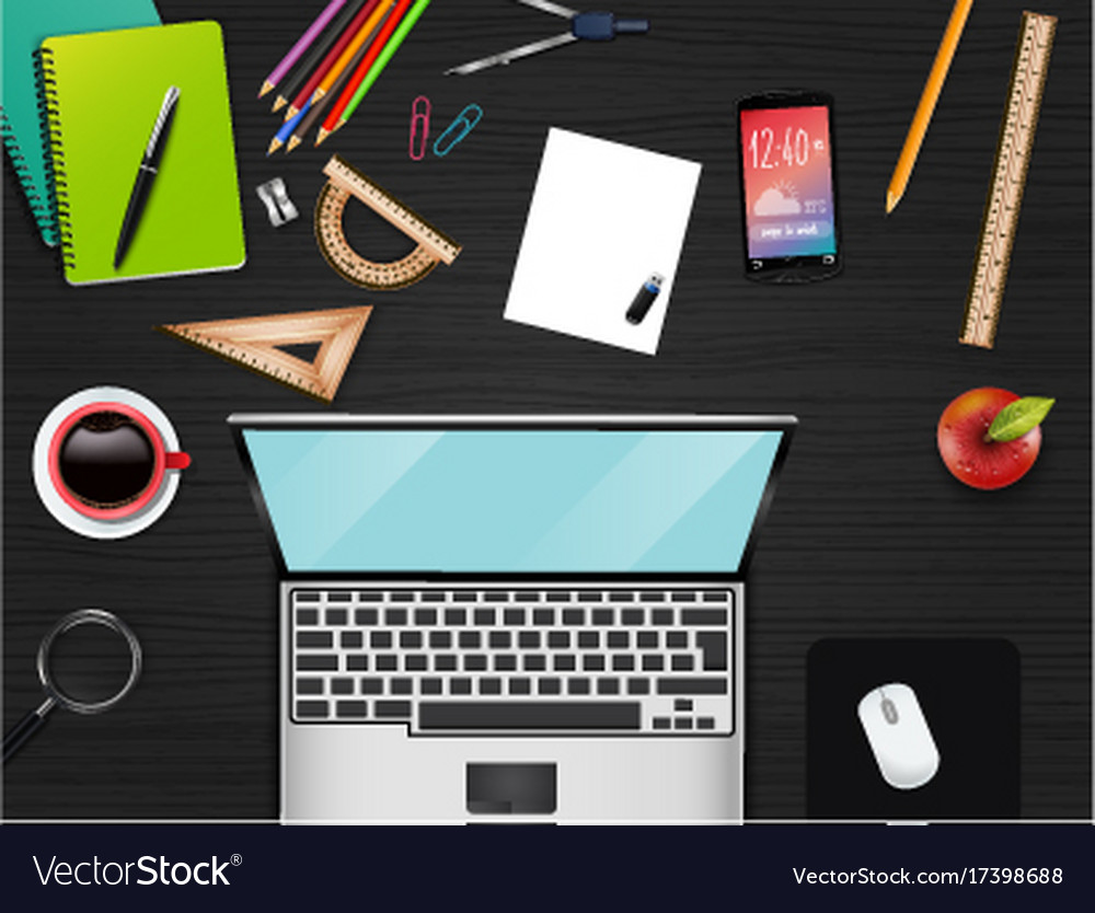 Business office and workspace top view background