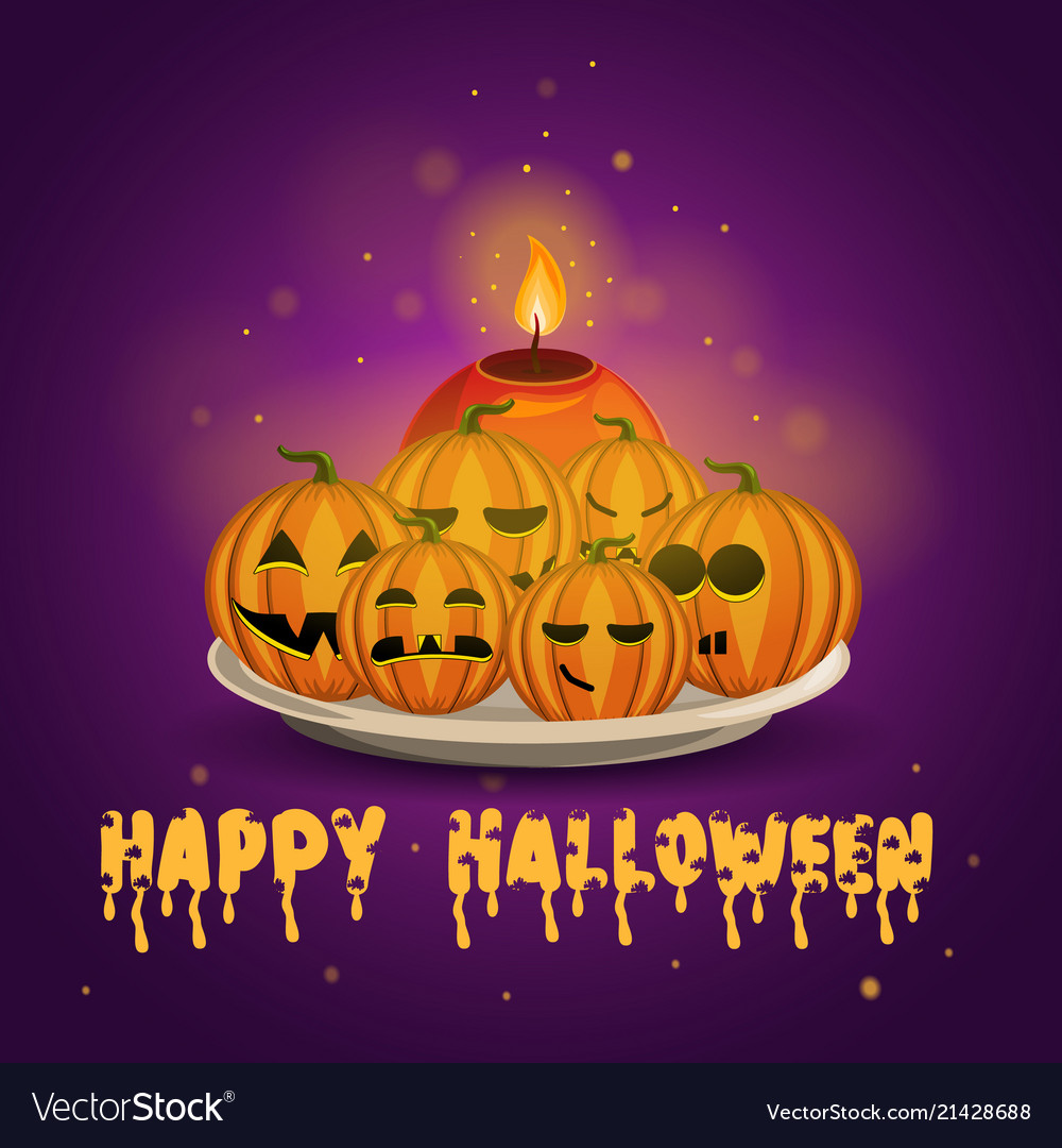 Card with halloween pumpkins and candle