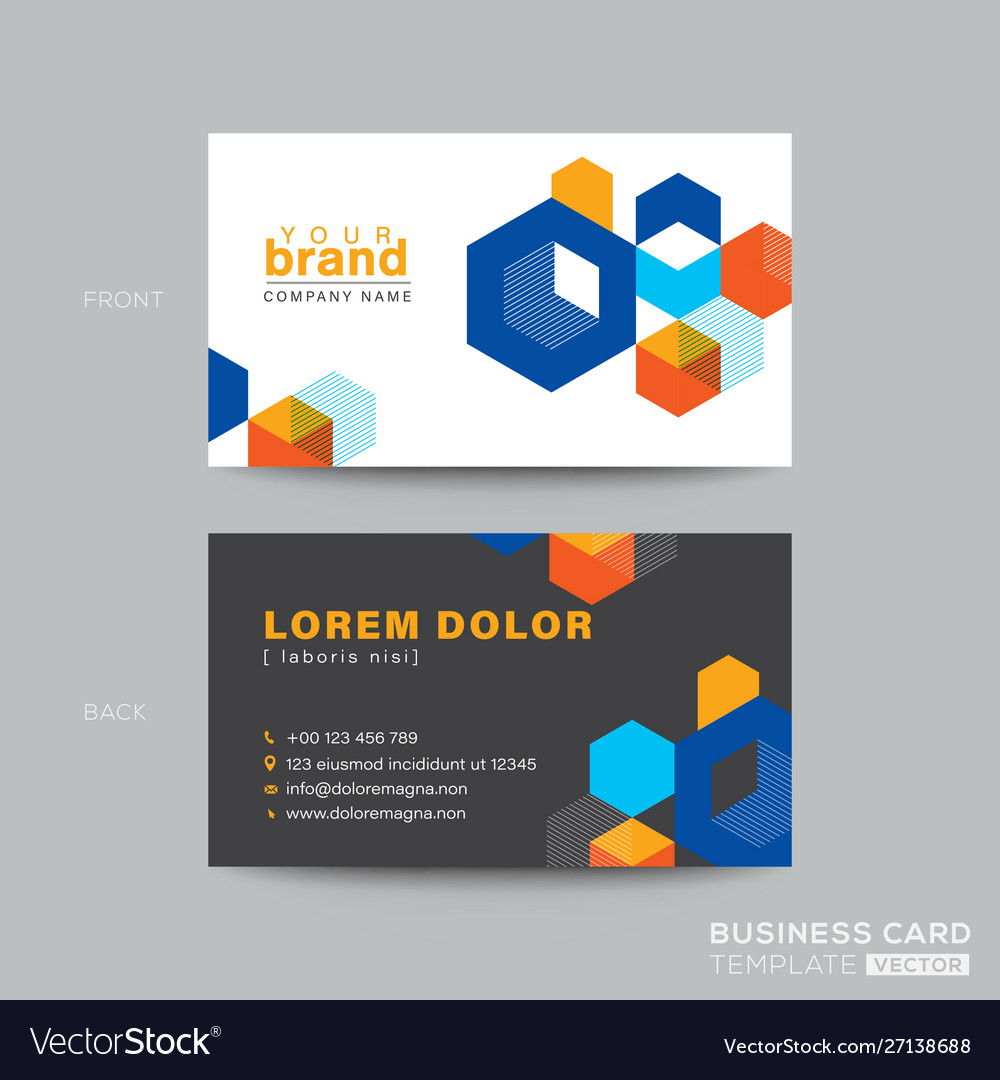Colorful business card design with isometric cube