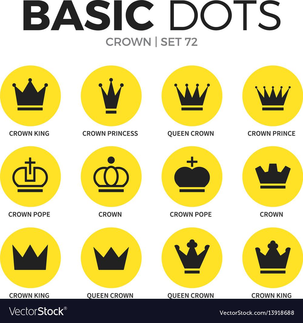 Crown flat icons set