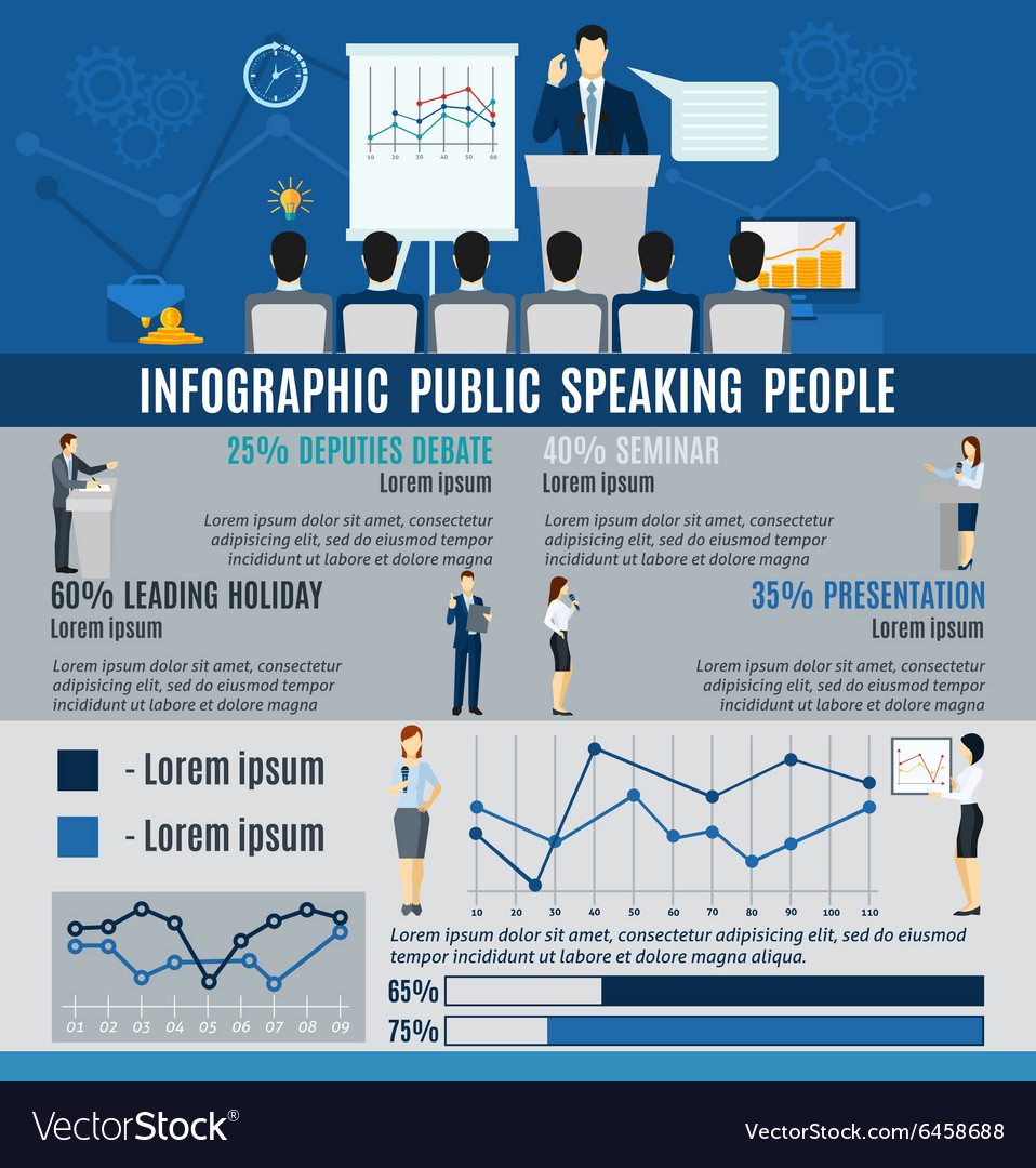 Infographic Public People Speaking From Podium vector image