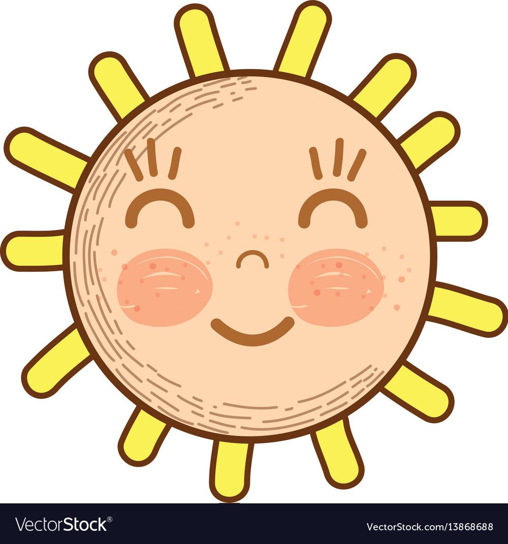 Kawaii happy sun with close eyes and cheeks