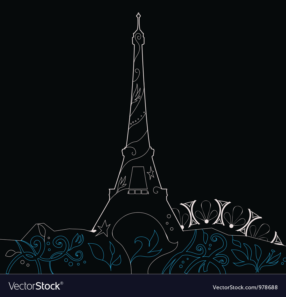 Ornate Eiffel Tower Silhouette