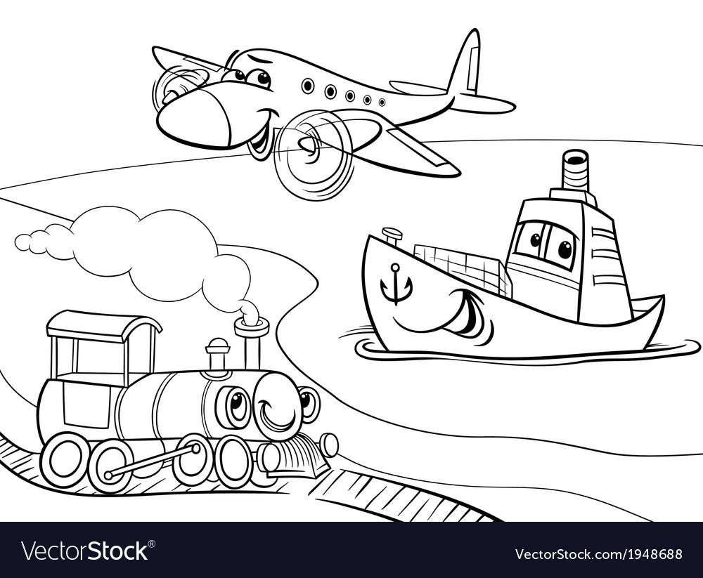 Plane ship train cartoon coloring page Royalty Free Vector
