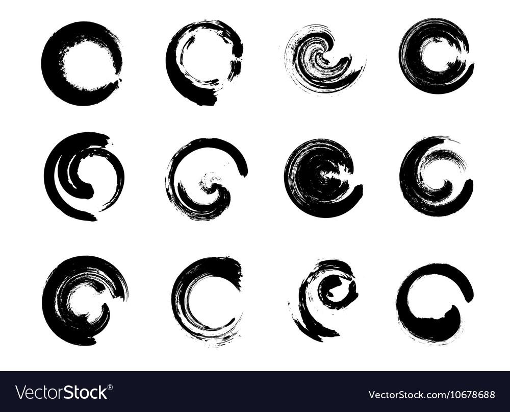 Set of Black Grunge Circle Stains