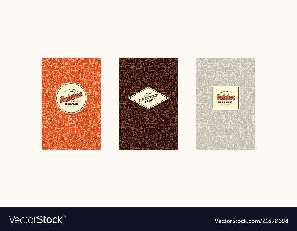 Set of cover label logo and seamless pattern