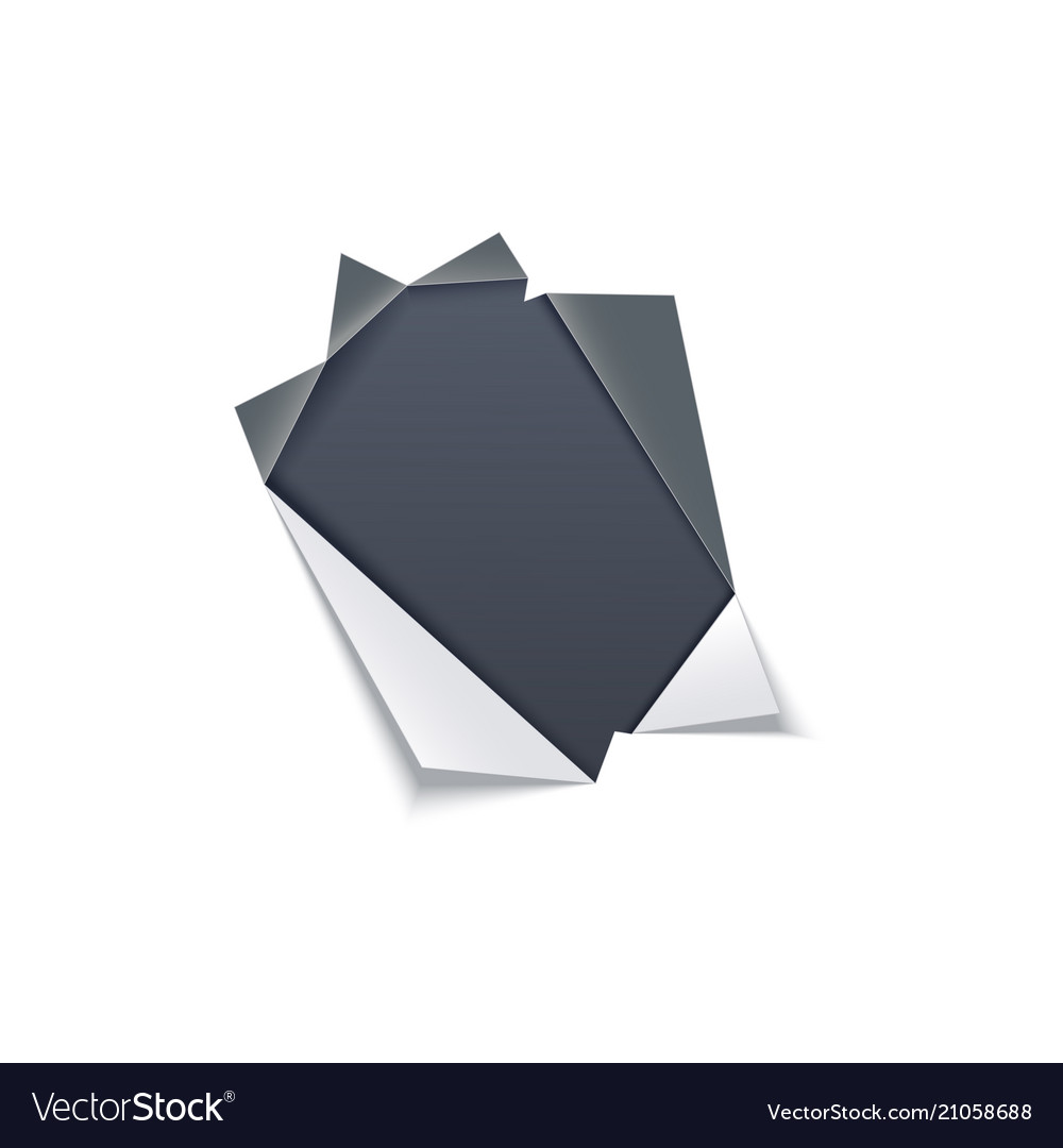 Torn hole with gray edges in middle of white paper vector image