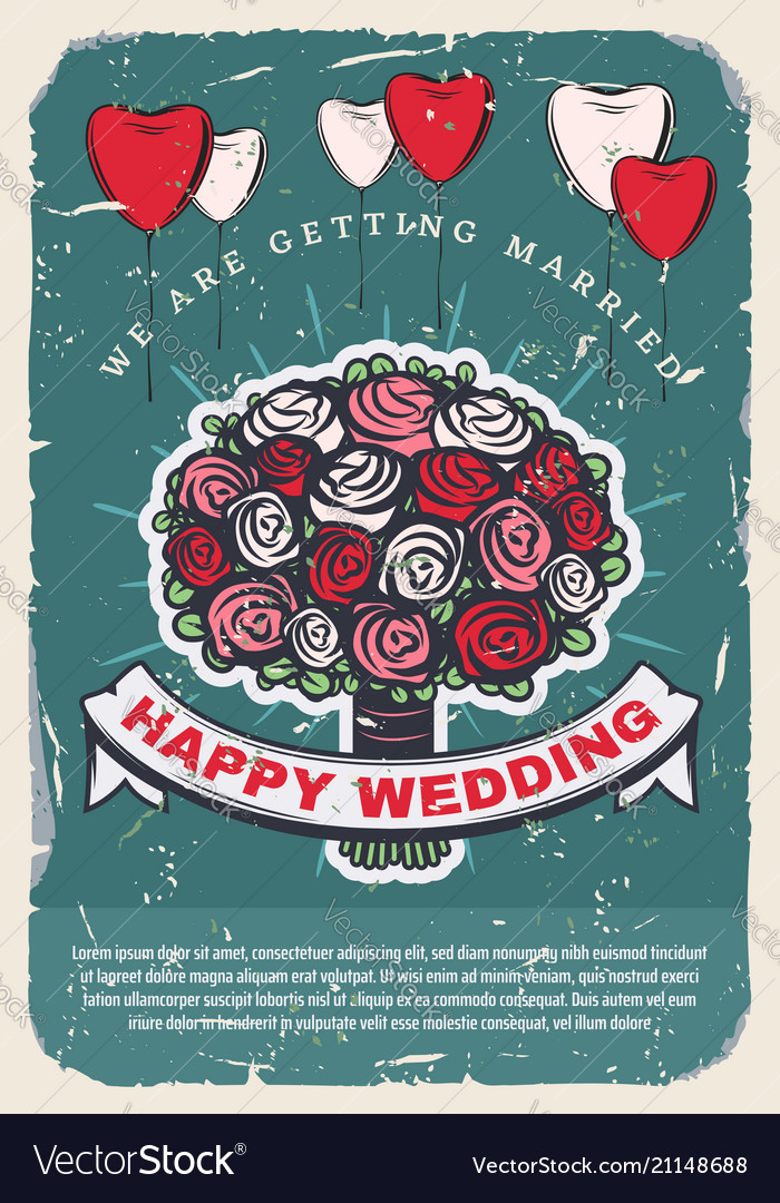 Wedding invitation template with bride bouquet