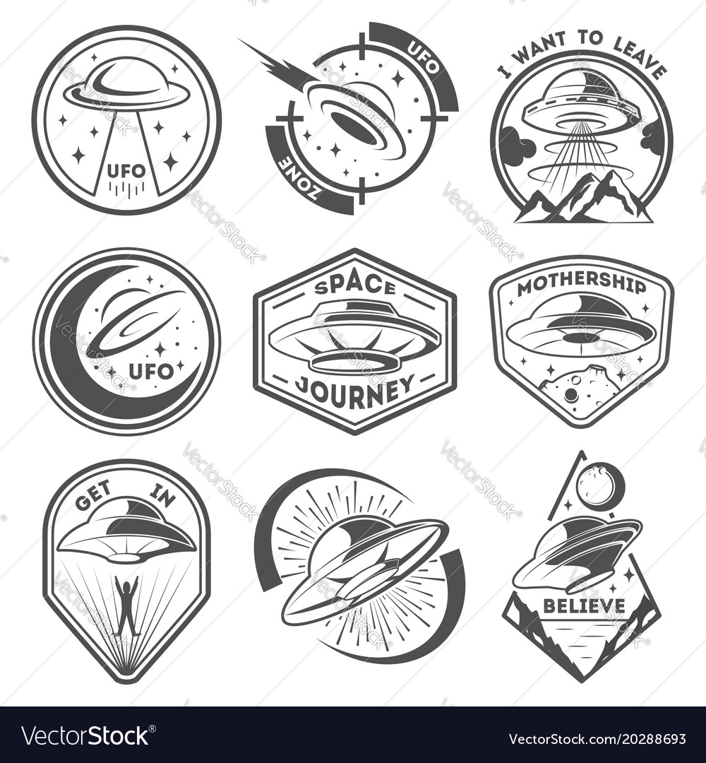 Alien spaceship spacecrafts and ufo emblems set vector image