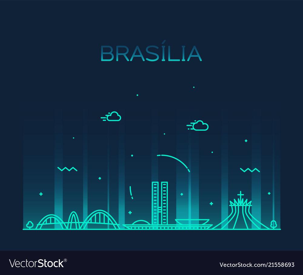 Brasilia skyline brazil linear style city