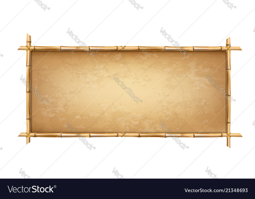 Brown bamboo sticks frame with old parchment