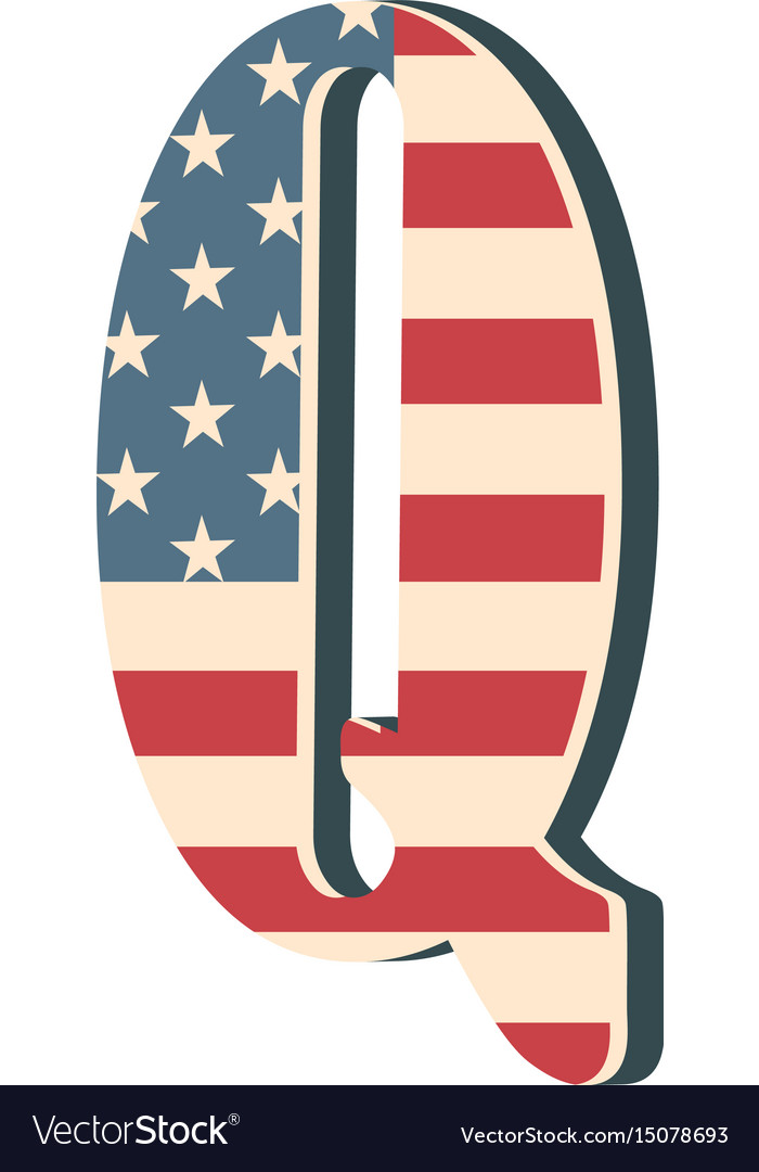Capital 3d letter q with american flag texture vector image